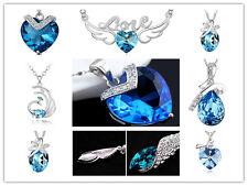 Summer Essential aqua Blue Pendant w/ 925 Sterling Silver Necklace FS w/box fs