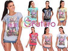Ladies T-Shirt Good One Print Short Sleeve 100% Cotton Top Sizes 8-14 FB277