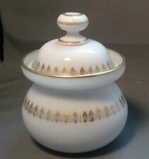 Antique 19th century English Bristol Glass Opaline Sugar Bowl Gilt Vanity Jar