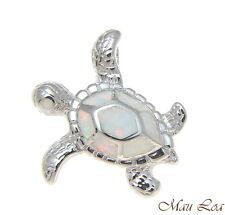 PLATA DE LEY 925 rodio HAWÁI Honu Sea Turtle Blanco Ópalo Deslizador Colgante