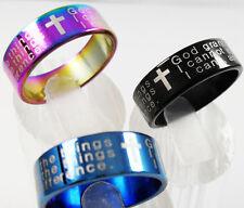 MENS Serenity prayer ring Blue Black Rainbow stainless steel religion Size T