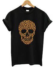 Leopard Print Skull T Camisa Hip Hop Top calle urbana Estilo Dope Hombre Mujer Niño