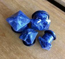 1 PAIR Purple Sodalite Organic Gem Stone Pyramid Single Flare Ear Plugs