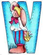 "New listing 3""-10"" Alma lynn bunny alphabet letter w name monogram heat transfer iron on"