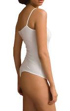 Para Mujer Sin Mangas Body Blanco * tanga * Delgada Correa Body Leotard 8 10 12