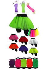 Neon Tutu Gauntlets Fishnet Gloves Fancy Dress Party Costume Set Children New