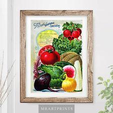 VINTAGE KITCHEN VEGETABLES Art Print Poster Victorian Illustration Food Cooking