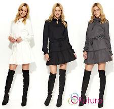 Womens Long Sleeve Tunic Drawstring Waist Mini Dress Boho Style With Frill FA568
