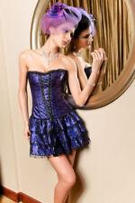 Gothic Vintage Floral Lace Up Overbust Corset Dress Skirt Steel Boned Basque