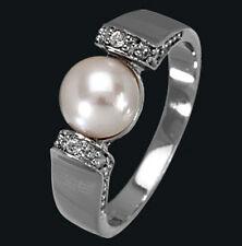 925 ECHT SILBER RHODINIERT *** Perlen Zirkonia Ring, Größenauswahl