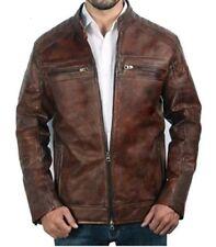 Mens Biker Vintage Motorcycle Distressed Brown Cafe Racer Leather Jacket - BNWT