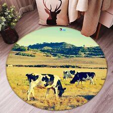 3D Cow Prairie 87 Non Slip Rug Mat Room Mat Round Elegant Photo Carpet CA