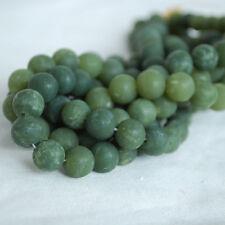 Grado a natural la Nefrita Jade Mate Esmerilado redonda con cuentas de piedras preciosas - 6, 8, 10mm