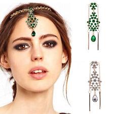 Women Crystal Flower Drop Forehead Head Shine Hairpin Headband Bridal Jewelry