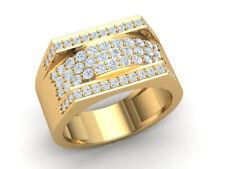 0.75ct Round Cut Not Enhanced Diamond Fancy Wide Men's Wedding Band 18K Gold