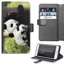 HAIRYWORM ANIMAL TWO PANDA CUDDLE BEAR HUG LEATHER WALLET PHONE CASE, FLIP CASE