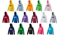 Kids Personalised Varsity Name Hoodie 1-13 Years Customised Printed Girls Boys