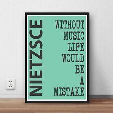 Cotización de vida Frederich Nietzsche cita palabras cotizaciones de impresión de arte Regalo música la vida
