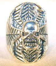 SKULL HEAD SPIDER BIKER RING BR112  HEAVY silver new men women skeleton jewelry