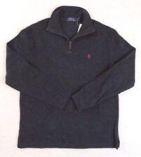 Men Polo Ralph Lauren 1/2 Zip Leather French Rib Pony Mockneck Sweater Ski S M