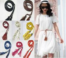 Le donne lungo sottile PU Pelle Cintura in Tessuto Fiocco Incrociato Abbigliamento Girovita Cintura Intrecciata Cinturino