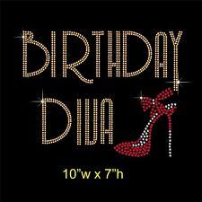 Birthday Diva Rhinestone Diamante Hotfix Iron on Transfer +  Free Gift