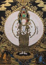 Black Gold Tonned Avalokeshvara Thangka Painting 29x21 CM