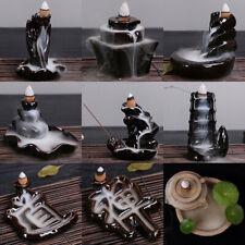 Porcelain Backflow Ceramic Cone Incense Burner Holder Buddhist Smoke Cones AU