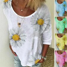 Plus Size Womens Summer Shirt Blouse Ladies Boho Floral Baggy Tops T-shirts