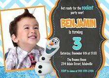 Frozen, Olaf, Snowman, Birthday Party Invitation