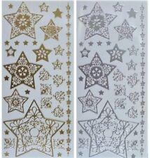FLOURISH STARS Peel Off Stickers Christmas Corners Star Border Gold or Silver