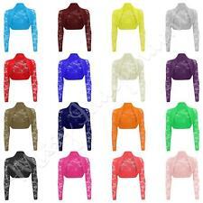 New Womens Long Sleeve Lace Detail Ladies Bolero Cropped Shrug Top Cardigan 8-26