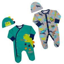 Newborn Baby Boys Dinosaur Sleepsuit Hat Set Outfit Cotton Scratch Mittens New