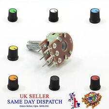Stereo Linear B Potentiometer Ohm Mixer Volume Tone Lin + Knob Cap 15mm Plastic
