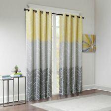 Luxury Yellow Grey White Geometric Chevron Blackout Curtain Panel