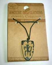 BRAVERY SYMBOL SHIELD WARRIOR ANCIENT INSPIRATIONS ADJ WOOD TRIBAL NECKLACE