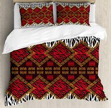African Duvet Cover Set with Pillow Shams Wildlife Animal Skin Print