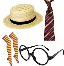 Womens Sexy School Girl Fancy Dress Accessory Stripe Socks Neck Tie Hat Glasses