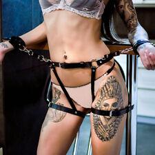 Women Faux Leather Harness Suspenders Belt Garters BDSM Leg Cage Body Bondage