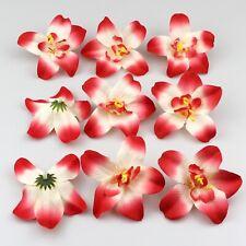 10/100Pcs Red Artificial Fake Orchid Silk Flower Head Wedding Home Garden Decor