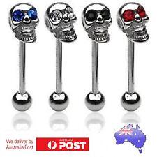 Skull Tongue Bar Barbell Stud Piercing 316L Steel Gems Crystals Eyes Punk Retro
