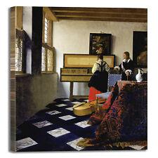 Vermeer lezione di musica design quadro stampa tela dipinto telaio arredo casa