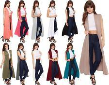 Womens Sleeveless Long Maxi Cardigan Ladies Open Collar Plain Boyfriend Kimono