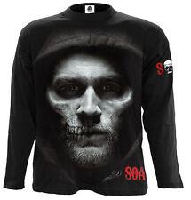 Espiral Directo Jax Skull largo Slve T Shirt hijos de la anarquía/Redwood SAMCRO/Pistola/SOA