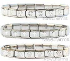 Italian Charm Starter Bracelet with 18 Links - You Pick Style: Brushed, Smile...