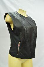 Bebe vest black leather drape asym 234252