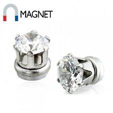 2er Set Magnet Fake Plug Non-Piercing Prong CZ Zirkonia klar silber Damen Herren