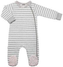 Kushies Baby Classic Grey Cotton Side Zipper Sleeper Pink Non-Slip Feet 533555