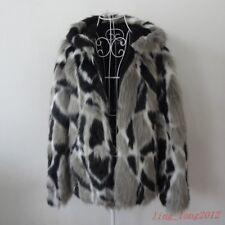 US Mens Warm Real Rabbit Fur Jackets Thicken Warm Coat Slim Fit Hood Collar
