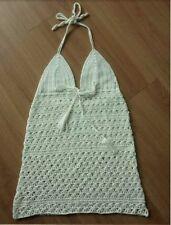Handmade Knit Crochet Halter Neck Dress Coverup Boho Hippy Beach Grecian Travel